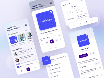 Podcast App components cards player ios podcasting rounded musicplayer podcast minimal app design clean ui