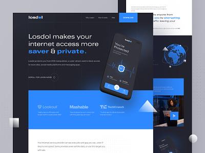 Internet Secure VPN landing page internet secure webdesign typography ios android vpn dark design ui website landing page