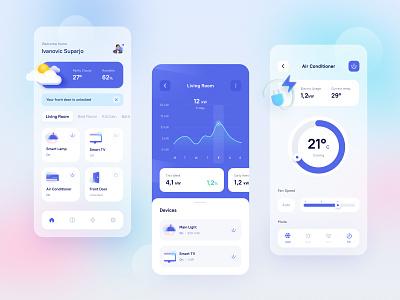Smarthome App Exploration simple blur gradient ux ui  ux appdesign smart smarthome minimal app design clean ui