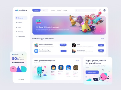 Application Store Dashboard blur illustration gradient dashboard games store app desktop minimal webdesign design clean ui