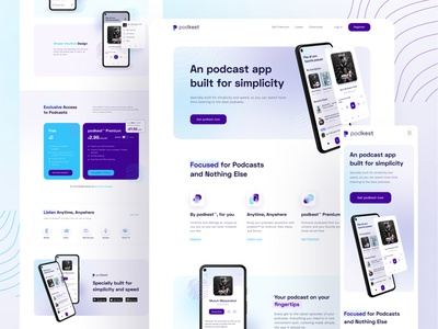 Podkest - Podcast app Landing Page webdesign rounded website ui design blur clean minimal musicplayer podcast ios android player app cards landing page