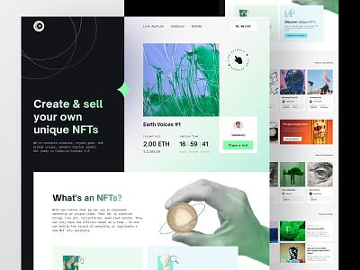 NFTs Marketplace Website experimental black green exploration layout nfts website desktop design ui landing page webdesign
