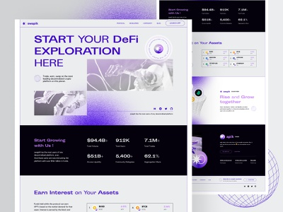 DeFi Landing Page Exploration webdesign purple blue contemporary branding design ui website landing page landing defi crypto blockchain nfts layout exploration experimental