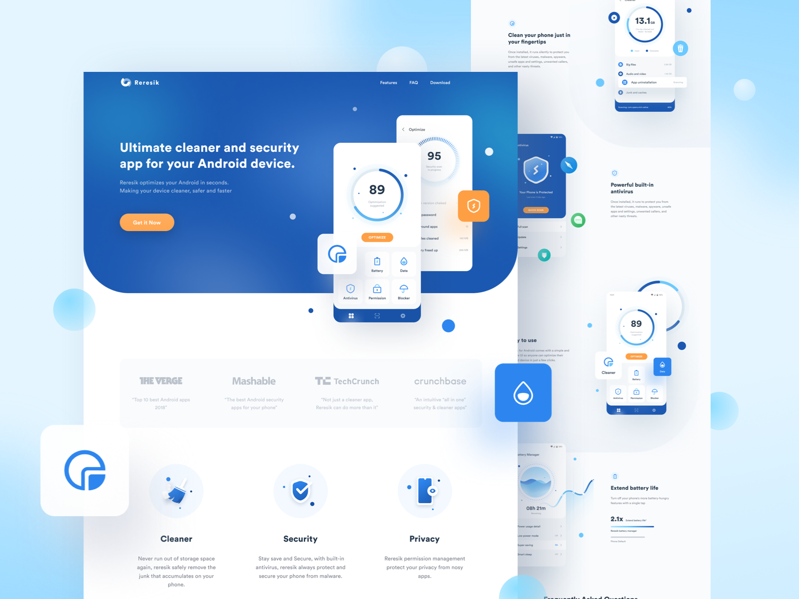Cleaner & Security App Landing Page by ilham yoga for