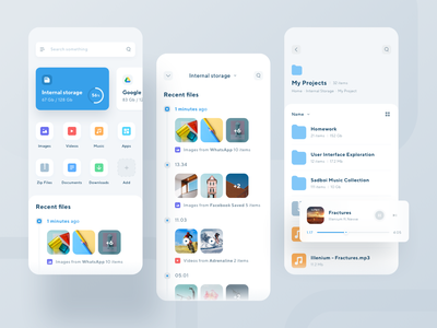 File Manager App folders music mobile icons file manager ios design app ui clean