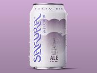 SAKURA WHITE ALE can logo packaging japan design cherry blossom lettering graphic brandmark branding typography