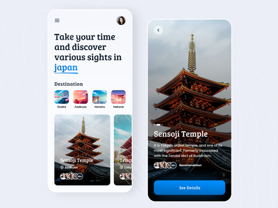 Weekly exploration 02 - Discover Japan traveling tourism tourist branding homepage recomendation travel vacation tour spots destination temple information discover holiday japan ux ui app design