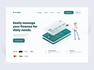 FastBank - Banking Landing Page concept design savings money financial fintech finance online desktop website illustration card transaction payment pay banking bank ui ux uiux