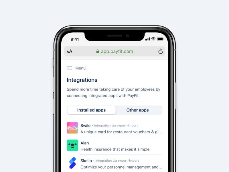 Integrations 🔗 responsive mobile light ios adaptative product skello alan swile payfit minimal logo interface integrations design card app api access