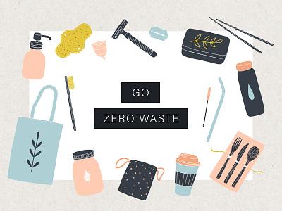 Go zero waste reduce reuse reusable vector artwork illustration vector ecology eco friendly eco living zero waste