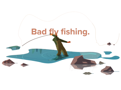 That's bad fly fishing. river landscape nature illustration frame by frame salmon fishing fly fishing duik rig character after effects animation