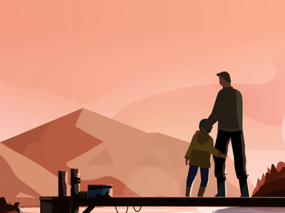 Sunsets and running water animation character after effects illustration landscape effects after kid rig cycle run