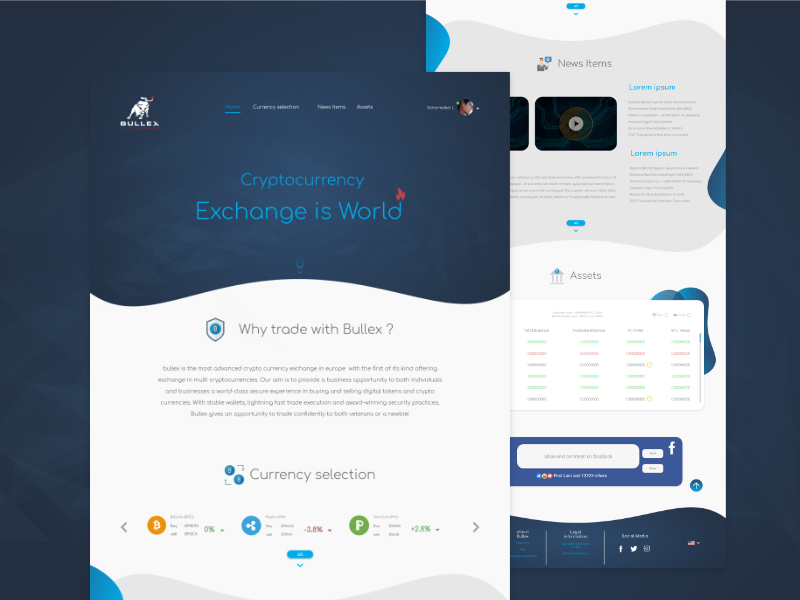Bullex, Cryptocurrency - free download for Xd webdesign userexperience ui cryptocurrency crypto