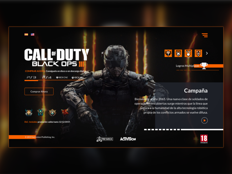 UI design - Call of duty Black Ops 3 web @daily-ui inspiration web game game ui design web design webdesign uiux design ui