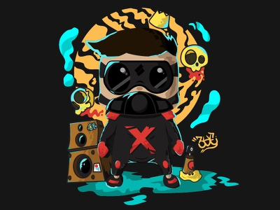 Xoon Mike dark side skull music ninja ai myanmar dribbbler digital art character design illustration