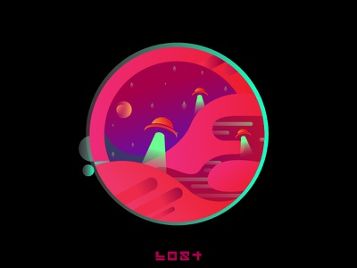 Late Night Fiction pink myanmar mountains stars lost ufo illustration ai gradient