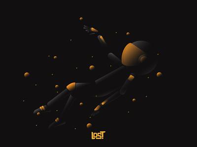 LOST typo black space astronut ai myanmar hello dribbble dribbbler digital art character design illustration