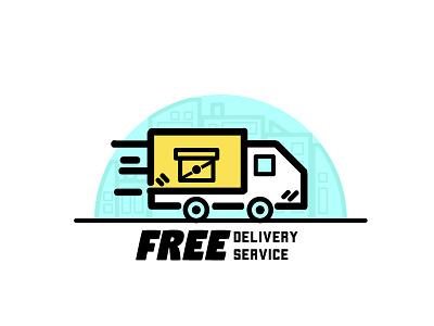 Free Delivery dribbbler design line building city truck illustration