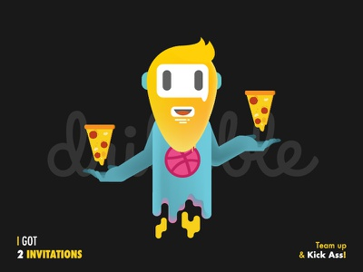 Dribbble Invitation character fly welcome dribbble myanmar pizza hipster gradient ai illustration dribbble invitation