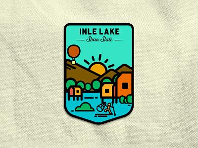 Inle Lake photoshop illustrator rebound illutration badge shan myanmar inle dribbble