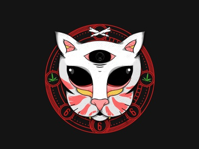 House Of Cat joint badge cat illustration 420 character photoshop weed devil myanmar illustration