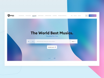 Kaptain Music - Music Library Homepage 🎵 library website design ui album cover cover gradient titles album song playlist interface shield music colorful webdesign website