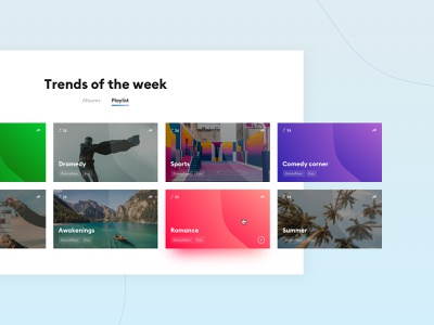 Kaptain Music - Music Library Guided Search 🎵 hover search guided search library ux ui gradient album song playlist interface blazon shield music colorful webdesign website