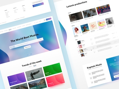 Kaptain Music - Music Library Website 🎵 titles playlists digital ui song blazon shield playlist music library interface gradient cover colorful album webdesign website