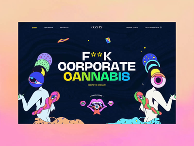 Oasis Cannabis Homepage Animation interaction ui webdesign fwa transition illustration gummies edibles product bold art direction homepage weed colorful psychedelic cannabis trippy