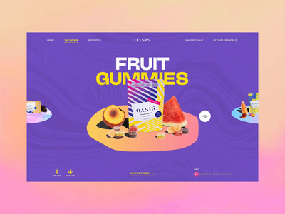Oasis Cannabis Products Page gradient website interaction ui webdesign fwa art direction trippy illustration reveal overview cannabis psychedelic colorful products carousel