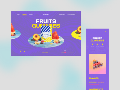 Oasis Cannabis 01 flavors art direction carousel fruits plate trippy weed cannabis colorful psychedelic gummies edibles product purple webdesign ui interaction mobile website gradient