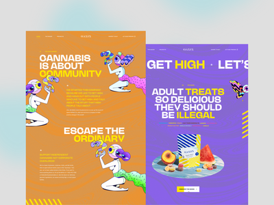 Oasis Cannabis 02 acid graphics acid layout art direction webdesign ui scroll fruits psychedelic trippy colorful orange purple gummies edibles products weed cannabis illustraion homepage
