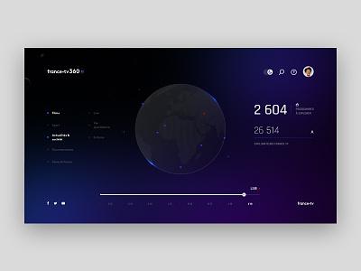 🌍 Francetv360 - Night version night explore timeline filter user gradient location francetv earth