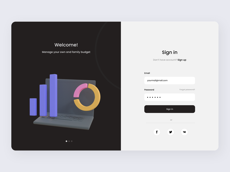 ⚡Budget Manager | Sign In 3d form welcome sign up sign in web ux ui