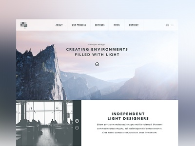 Home page with Panel Slideshow ui web design photography website typography minimal clean landscape