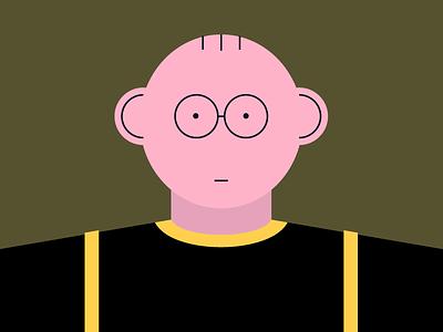 Monday night man face digital color illustration