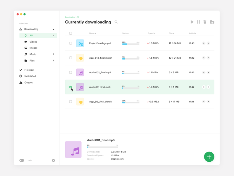 Minimalistic Download Manager by Eryk Piecuch for Daftcode on Dribbble