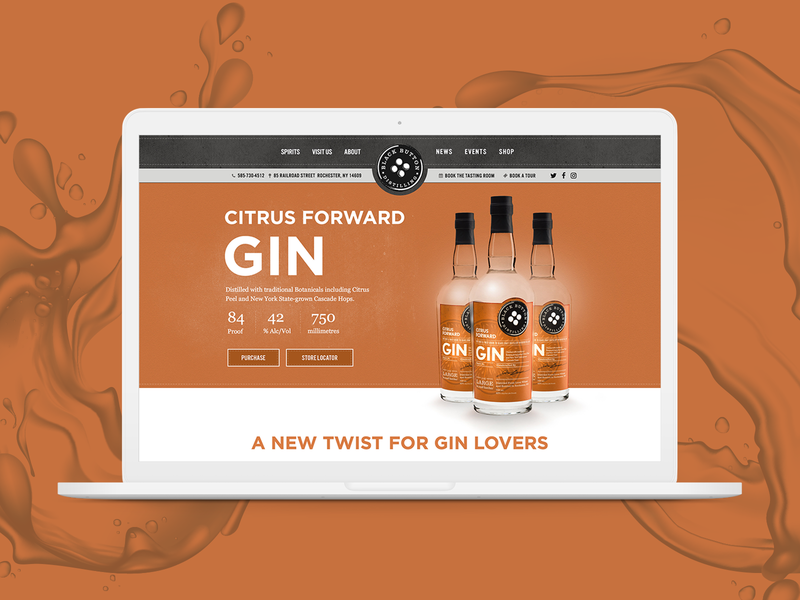Black Button Distilling product concept page concept wesbite