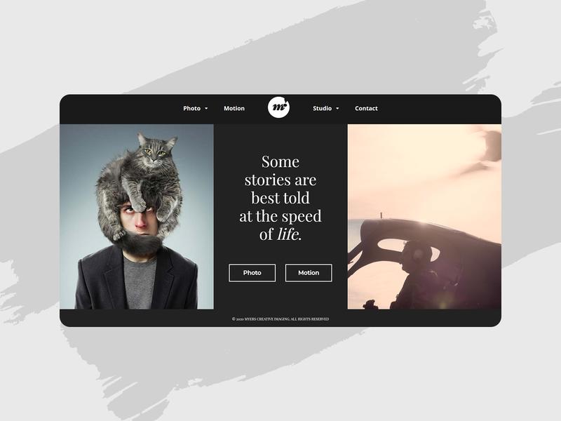 Myers Photography splitscreen ui web design webdesign website