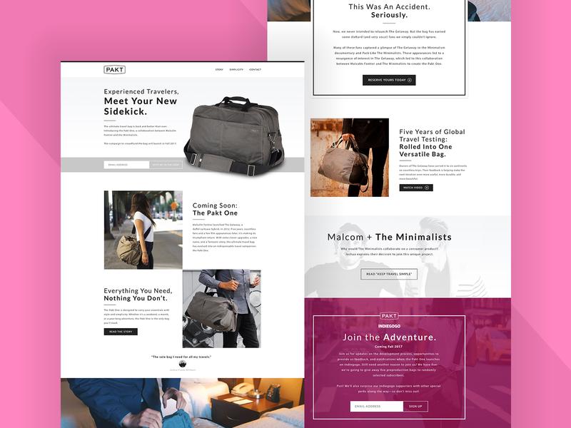 Pakt Bag landing page conceot website design webdesign ui ux design website