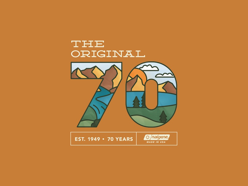 Nalgene 70th sticker mountains brand logo nalgene design