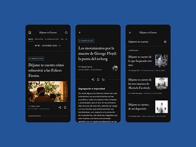 Magazine UI Design - Dark mobile ui mobile magazine interface figma ux uidesign ui design minimal
