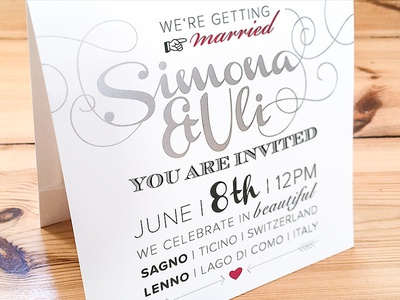 Wedding Card typography special print hot foil stamping