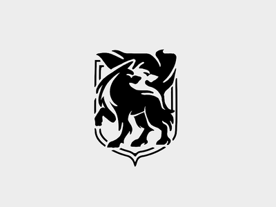 Wolf sketch blackwhite shield icon animal logo