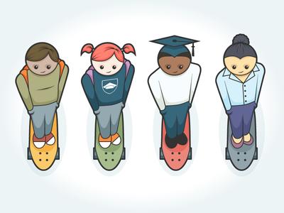 Students on skateboards