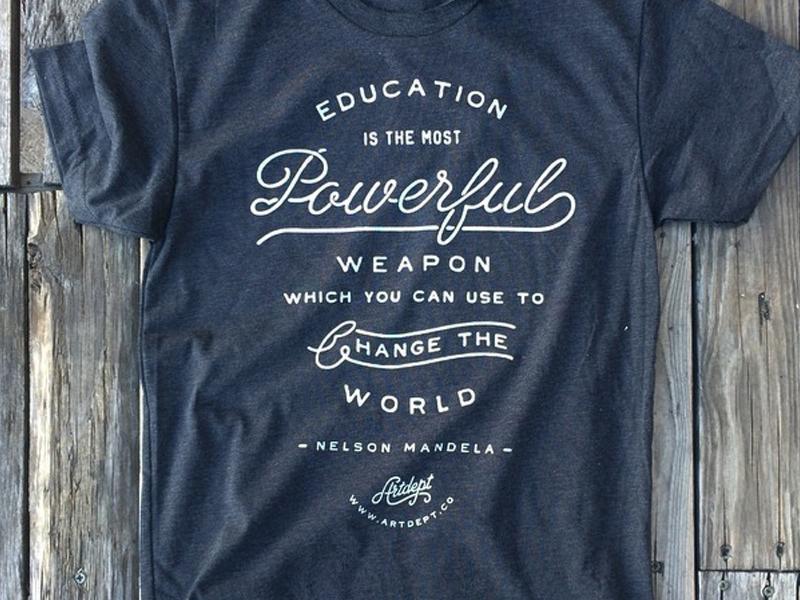 Education Print apparel typography custom handmade hand drawn good non-profit education script font