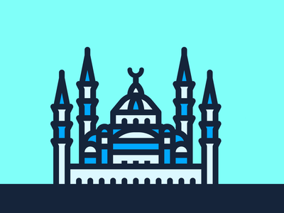 Mezquita Azul Icon illustration diseño turkey