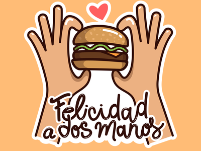 Sticker Burgerlover burger king mcdonalds love flat illustration vector españa stickers icons love burgers happy burgers
