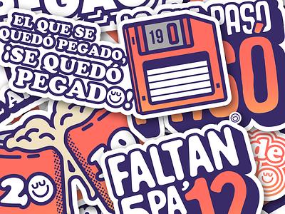 Stickert from New Years 2019 typography minimal flat app icon vector design illustration telegram whatsapp happy new year españa venezuela stickers