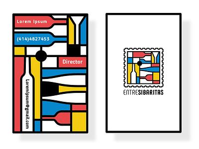 Logo Entresibaritas estampilla stamp cards bussines cards ilustración iconos diseño plano vector venezuela españa branding and identity importadora drinks flat art mondrian logotype logo branding